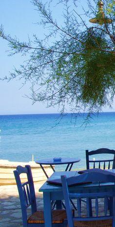 Greece: Naxos Island – Blue chairs on beach (by pawightm (Patricia)) Albania, Santorini, Wonderful Places, Beautiful Places, Places To Travel, Places To Visit, Chios, Greek Culture, Greece Islands