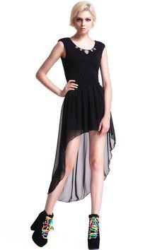 Leopard Embellished Shoulder Pads Black Dress #Romwe