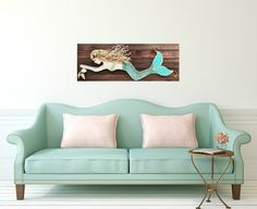 Mermaid Decor Original Beach Art on Wood Coastal by MidorisMyMuse