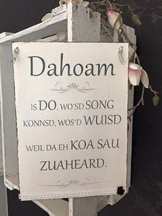 "Decorative objects - Shabby wooden sign ""Dahoam"" - a designer product by at . - Decoration – Shabby wooden sign ""Dahoam"" – a unique product by on DaWanda -"