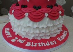Bottom tier of minnie mouse cake
