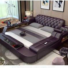 This is something I definitely need the Genuine leather bed frame With Magic Features. Brown Leather Bed, Leather Bed Frame, Bed Headboard Design, Bed Design, House Design, Cool Room Decor, Diy Bedroom Decor, Bedroom Furniture, Bedroom Signs