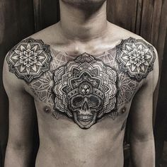 75 Nice Tattoos for Men - Masculine Ink Design Ideas - Tattoos - Tatouage Skull Tattoos, Black Tattoos, Body Art Tattoos, Tribal Tattoos, Sleeve Tattoos, Arabic Tattoos, Dragon Tattoos, Gypsy Tattoos, Mandala Brust Tattoo