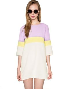 """Give your wardrobe a pop of spring with this cute pastel color block mini dress in lavender, yellow, and off white. Has ¾ sleeves and unlined. This cute summer dress pretty with gladiator sandals. *100% Polyester*36""""/91cm Bust ,36""""/91cm Waist ,29""""/72cm Length*Model is wearing size small and model's height is 5'10""""/178cm."""