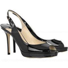 Jimmy Choo Nova Leather Peep Toe Pumps Black -$154