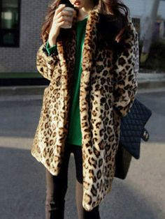 Lapel Leopard Long Coat | victoriaswing