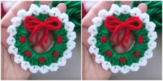 Fun and Easy Crochet Christmas stocking pattern and tutorial. You can make lots of them with this easy crochet Christmas stocking pattern. Crochet Christmas Stocking Pattern, Crochet Christmas Wreath, Crochet Wreath, Crochet Christmas Decorations, Crochet Santa, Felt Christmas Ornaments, Free Crochet, Christmas Wreaths, Crochet Baby