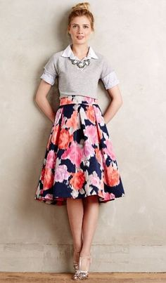Angelique Midi floral Skirt. women fashion outfit clothing style apparel @roressclothes closet ideas