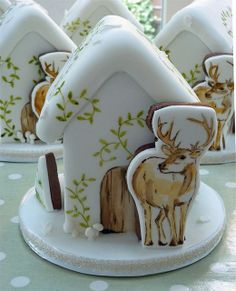 Handpainted fondant-covered gingerbread house and deer by NeviepieCakes