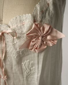 Chemise monogram and ribbon detail. 1910s American or European