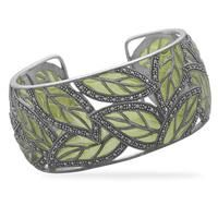 Marcasite Green Leaf Cuff Bracelet Green epoxy and marcasite in a cut out leaf design cuff bracelet. Cuff measures Sterling Silver, Style no. Jewelry Box, Jewelry Accessories, Jewelry Design, Jewelry Making, Unique Jewelry, Jewelry Gifts, Jewelry Bracelets, Bangles, Love Is In The Air