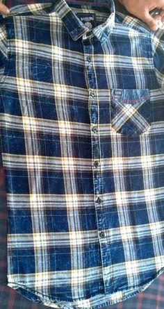 Indigi Checks shirt with Ball wash detailing Denim Shirt, Shirt Men, Mens Shirt Pattern, Clothing Labels, Men's Clothing, Check Shirt Man, Mens Designer Shirts, Boys Shirts, Mens Clothing Styles