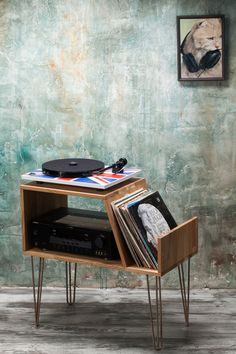 Vinyl Record storage, Record Player Cabinet, Media Console, Record player stand, Hairpin legs by LumiWood on Etsy https://www.etsy.com/listing/493297712/vinyl-record-storage-record-player