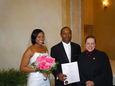 Me, with #Bride, Renee' and #Groom, Orvell, at their #Valentine's #Day #Wedding at Ruth's Chris Steak House in #Boston