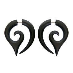 Pair-Fake-Faux-Hand-Carved-BLACK-POINTED-FANG-SPIRAL-GAUGES-EARRINGS-Wood-Steel