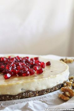 Raw Vegan Cashew Citrus Cream Cake with Pomegranate - This cake is not only beautiful, it's delicious. The cashews create a rich creaminess and the fresh lemon juice and oranges make the results divine.