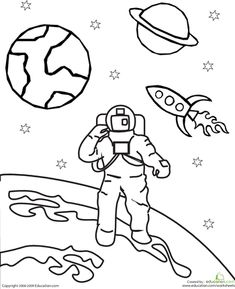 One thing that never goes out of style with kids is outer space. Encourage your child& natural need to explore with our extensive collection of outer space coloring sheets, featuring rocket ships and robots. Space Coloring Pages, Coloring Sheets, Space Preschool, Astronauts In Space, Neil Armstrong, Space Theme, Space Exploration, Coloring For Kids, Colorful Pictures