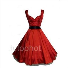 old pin up dresses | Red satin retro 50s vintage style pin up rockabilly prom dress 8 10 12 ...