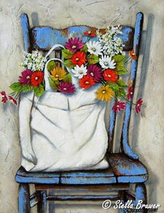 Stella Bruwer white sack of summer flowers on high back shabby blue chair Art Floral, Pictures To Paint, Beautiful Paintings, Oeuvre D'art, Painting Inspiration, Flower Art, Painting & Drawing, Watercolor Paintings, Art Drawings