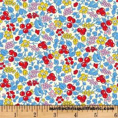 Cotton Quilt Fabric Vintage 30's Tutti Fruity Blue Sara Morgan Reproduction - product images  of