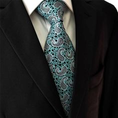 Teal / Black Necktie Main with Suit Jacket