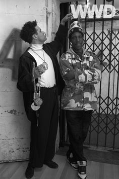 Isaac Mizrahi with Arthur Hubbert, the elevator operator who inspired the designer's Fall 1991 collection.