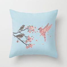 Blossom Bird by Terry Fan $20.00 #pillows #homedecor