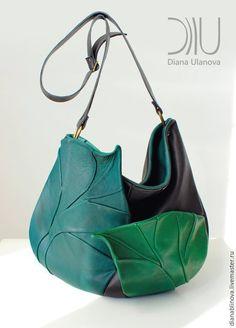 Купить Листья антик - разноцветный, в полоску, сумка кожаная, сумка коричневая, подарок женщине