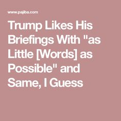 """Trump Likes His Briefings With """"as Little [Words] as Possible"""" and Same, I Guess"""