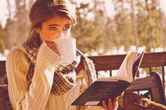 Peace and quiet girl outdoors nature drink coffee autumn book sweater