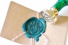 Personalized Custom Initials Monogram Gold Plated Wax Seal Stamp.... Great for customizing gift wrap and making monogrammed chocolate seals for cake squares