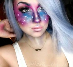 Galaxy Makeup, Body Art, Makeup Looks, Hair Makeup, Halloween Face Makeup, Sci Fi, Beauty, Painting, Inspiration