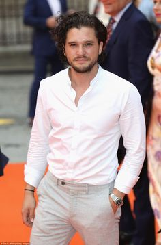 Dapper chap: Game Of Thrones star Kit Harrington kept it casual at the event