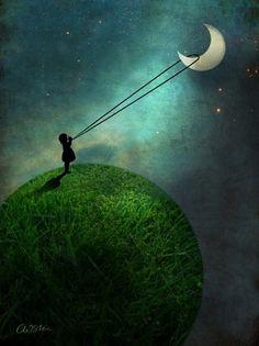 Chasing The Moon - Catrin Welz-Stein - Affiche sous cadre en bois Art And Illustration, Girl Illustrations, Good Night Moon, Art Mural, Wall Art, Moon Art, Moon Moon, Pics Art, Whimsical Art