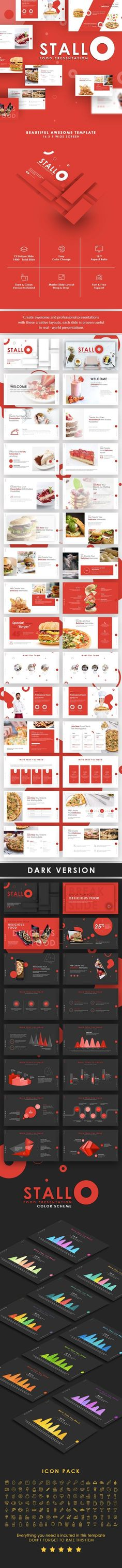 Buy Stallo Food Presentation Template by Slidesignus on GraphicRiver. Description : The best templates for your food business types, minimalist, elegant, and certainly professional, so yo. Creative Powerpoint Templates, Best Templates, Powerpoint Presentation Templates, Keynote Template, Design Templates, Presentation Design Template, Presentation Slides, Text Pictures, Light In The Dark