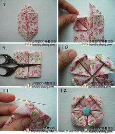 Find out about Step by Step Origami Origami Quilt, Fabric Origami, Fabric Scraps, Quilted Ornaments, Fabric Ornaments, Fabric Flower Tutorial, Fabric Flowers, Quilt Patterns, Craft Ideas