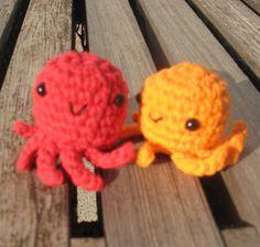 Red Octopus Ornament Zipperpull or Keychain by indigocrochet, $10.95