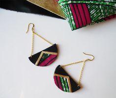 Boucles d'oreilles wax demi cercle en cuir recyclé et tissu wax - Idée cadeau - Bijou tendance été - pendantes