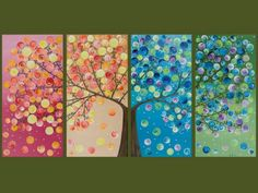 """Large Abstract Landscape Art four seasons Canvas Tree Painting Office Wall Decor Days of Happiness"""" by qiqigallery Grand Art Mural, Ouvrages D'art, Tree Wall Decor, Extra Large Wall Art, Art Abstrait, Art Club, Art Plastique, Landscape Paintings, Landscape Art"""