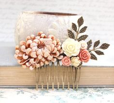 Floral Collage Comb Peach Pink Flower Hair Comb от apocketofposies