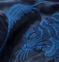 Detail - Blue Blue Japan Embroidered Satin Souvenir Jacket