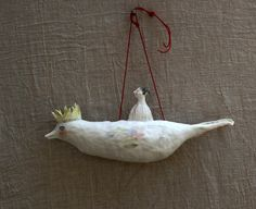 """""""bird on the wall"""" porcelain sculpture"""