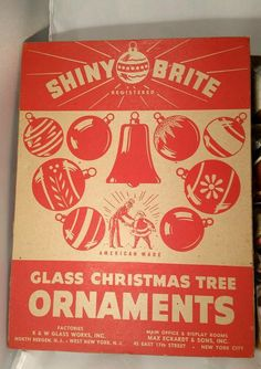 Rare Red Vintage Box of 12 Shiny Brite Glass Ornaments Th is is a Really Great Set of Ornaments Great Paint and Mica Retention Very Vibrant Colors cap s are marked Shiny Brite Ornament size 2 3/8 di