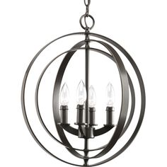 Progress Lighting Equinox 16-in 4-Light Antique Bronze Hardwired Globe Standard Chandelier