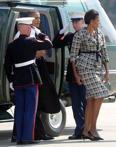 Michelle Obama wears a Nina Ricci Spring 2011 jacket and skirt in New Delhi
