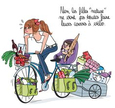 Book de l'illustratrice Magalie F Portfolio : Portfolio : Shopping Crime Illustration Photo, Photography Illustration, Woman Illustration, Illustrations, Mother And Daughter Drawing, Sports Drawings, Image Digital, Bicycle Painting, Adult Cartoons
