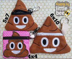 4x4 5x7 & 6x10 ALL poop zipper pouch funny friends, pets, gag gifts! large hoop face for kids ITH easy design in the hoop. Instant Download