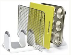 Bakeware Holder from The Container Store. Shop more products from The Container Store on Wanelo. Container Store, Kitchen Storage Solutions, Kitchen Organization, Organization Hacks, Lifehacks, Crate And Barrel, Kitchen Pantry, Kitchen Cabinets, Kitchen Sink