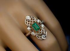 Vintage Art Deco diamantes Esmeralda calado anillo de 1930