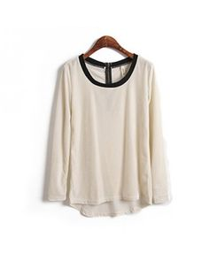 Round Neck ivory long sleeve irregular blouse Other type Solid Pop style zz102210 in